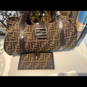Vintage Fendi Zucca with wallet ! Authentic!